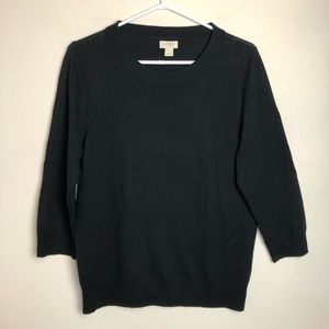 J Crew Size L Wool Black 3/4 Long Sleeve Shirt